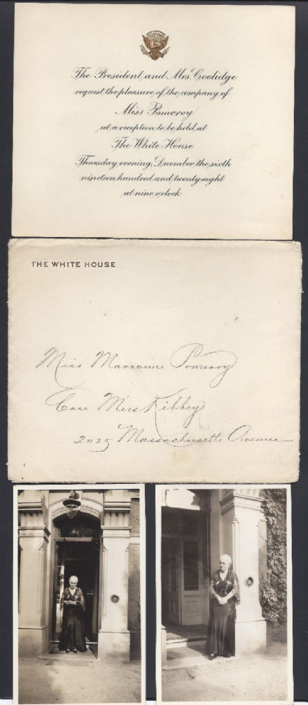 USA President Coolidge White House Invitation 1928 to Miss Pomeroy